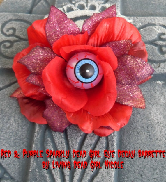 Dead Girl Decay Red and Purple Sparkly Eyeball Flower Barrette