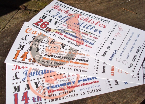 Baseball Ticket Wedding Invitations - Deposit to Get Started