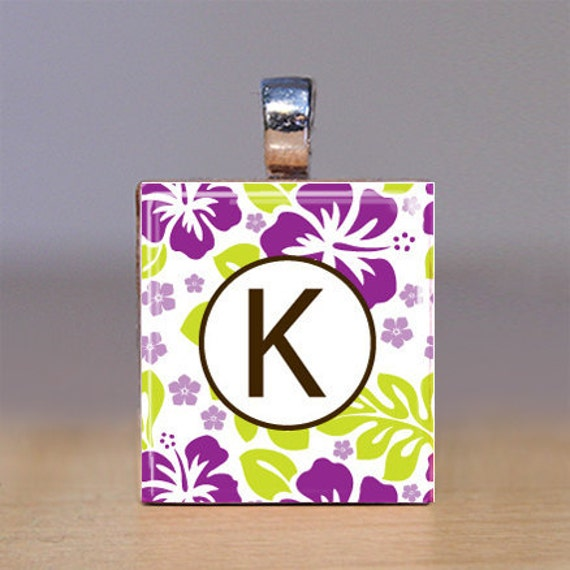 Your Initial - Scrabble Tile Pendant - Purple Hibiscus