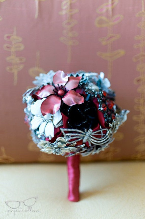 Wedding Bouquet from Vintage Brooch Jewlery - CUSTOM MADE to fit your colors, style & budget OOAK