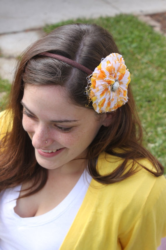Vintage fabric flower pin