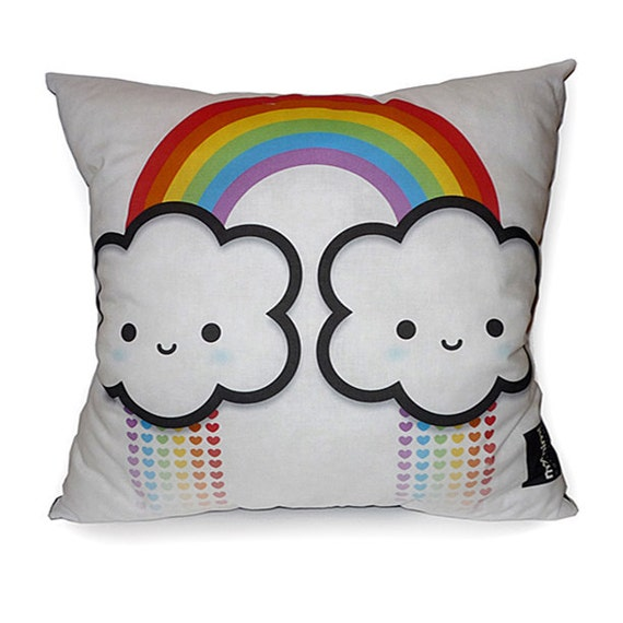 FREE SHIPPING - Deluxe Pillow - Rainbow Cloud (White)