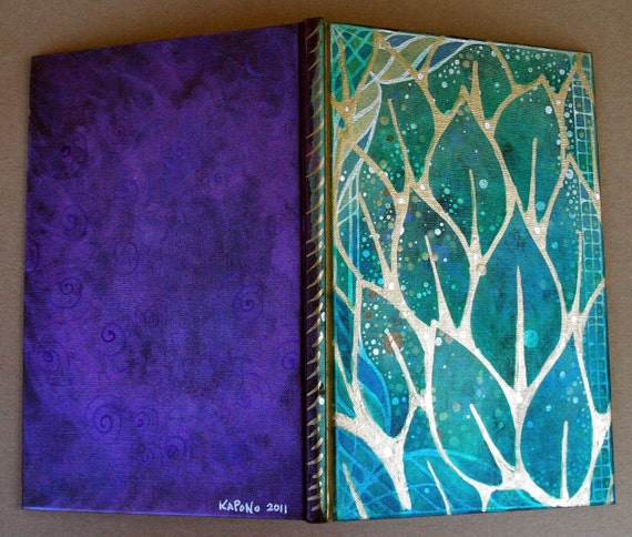 Art Journal Notebook Hand Painted Summer Leaves