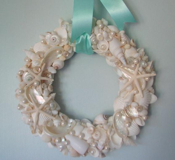 Пляж Декор Seashell Венок - Shell Венок ш Все белых раковин, морских звезд и жемчуг