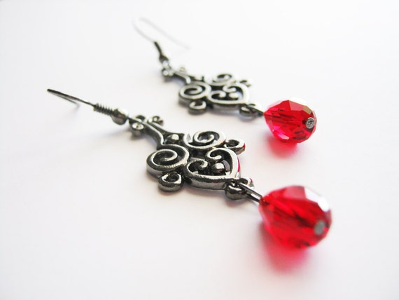 Vampire True Blood Twilight Inspired Pewter Earrings with Red Swarovski Crystals
