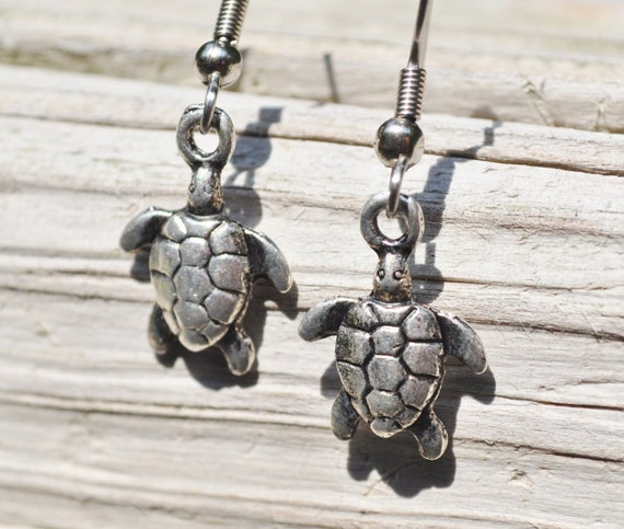 Turtle earrings in rustic metals