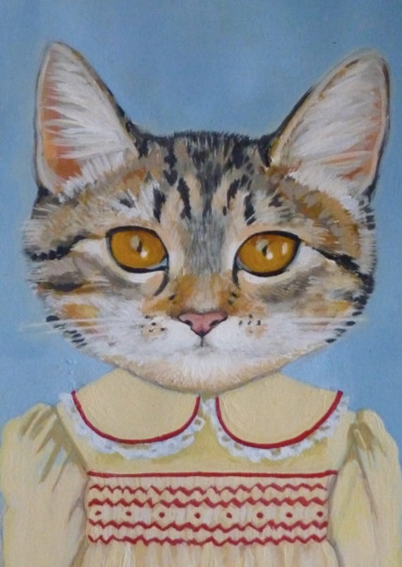 "Framed Fine Art Print- ""Margaret"" - A Cat in Clothes -Fine Art Giclee Print From Painting by Heather Mattoon"