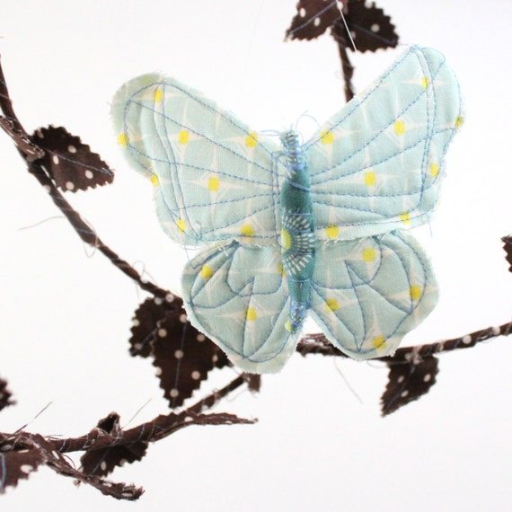 Butterfly Mobile - handmade fabric mobile in chocolate brown, sky blue, sunny yellow, teal, avocado, and gold