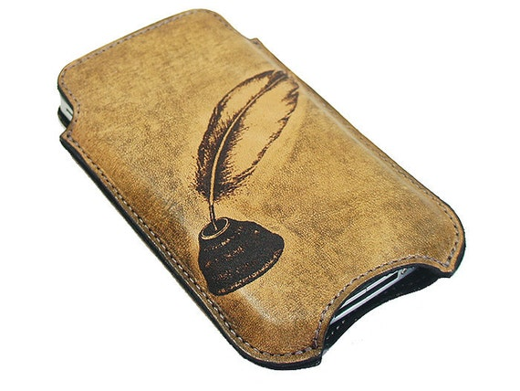 Slim Cell Phone Leather Sleeve - Quill and Ink