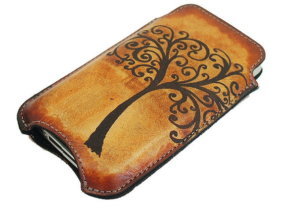Slim Cell Phone Leather Sleeve - Tree of Life