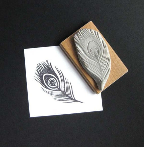 Peacock Feather Hand Carved Stamp