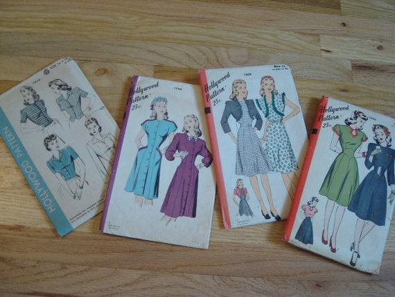 1940's Hollywood Pattern Lot of 4