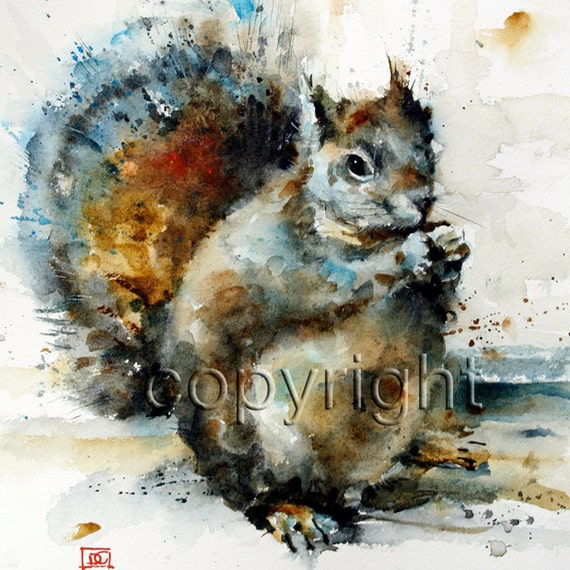SQUIRREL Watercolor Print by Dean Crouser