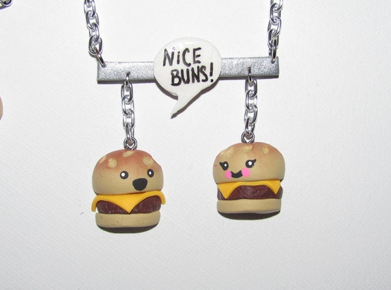 Nice buns comical cheeseburger necklace