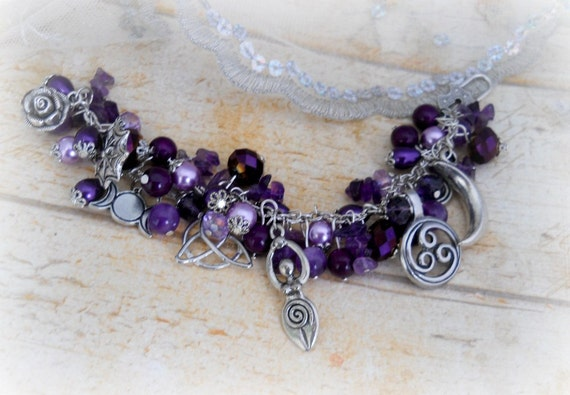Symbols Of The Goddess, Charm Bracelet, Amethyst ,Wiccan,pagan,Witch,witchcraft,metaphysical,new age
