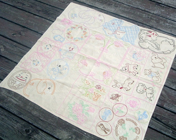 Table Cloth Vintage Hand Embroidered Table Scarf OOAK