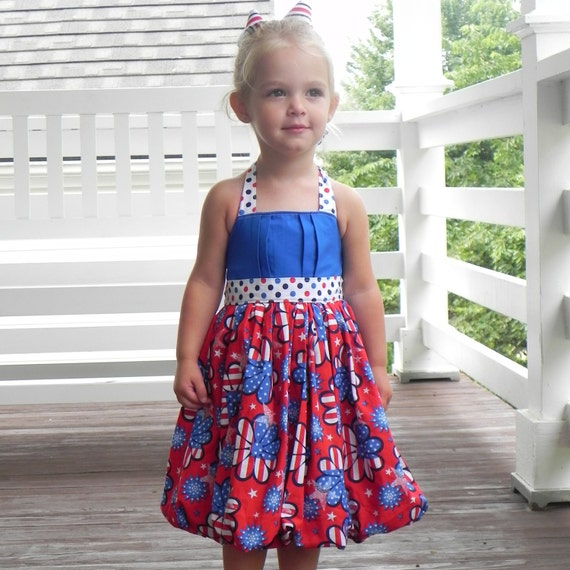 Fourth of July Bubble Dress-Lola Lou  Flower Power