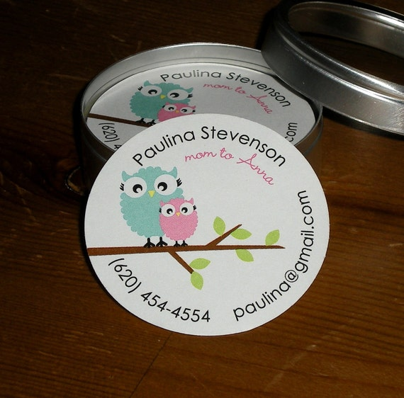 Mini Calling Cards in Tin - Set of 60 cards - OWLS