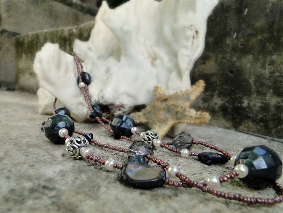 Jamaican Black Mango - Charcoal Black and Deep Purple Beaded Multi Strand Necklace