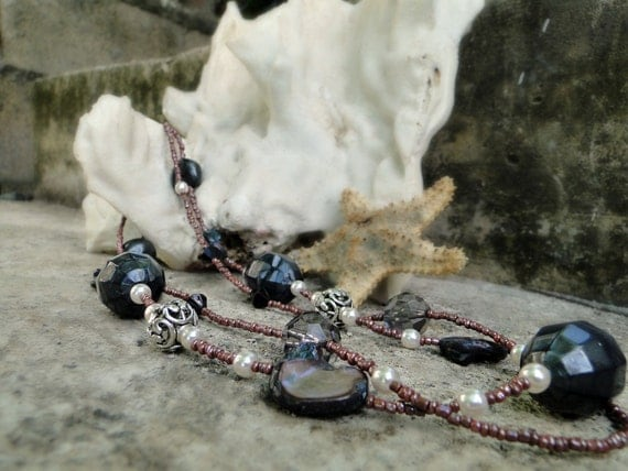 End Of Year Sale  Jamaican Black Mango - Charcoal Black and Deep Purple Beaded Multi Strand Necklace