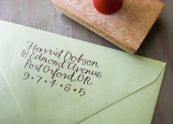 Custom Return Address Stamp // BRIGHT // hand calligraphy