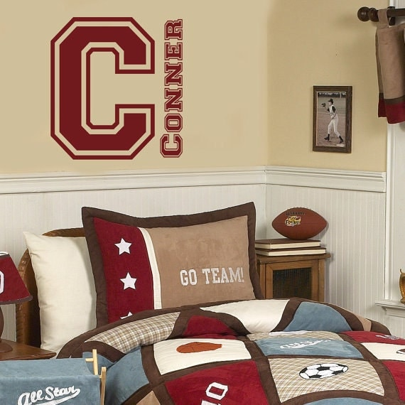 Varsity Initial and Name Teen Boy Nursery Wall Decal Home Bedroom Decor