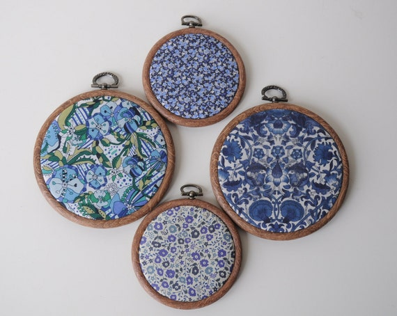 Liberty Print Embroidery Hoop Wall Art - Set of 4 -  Blue Study