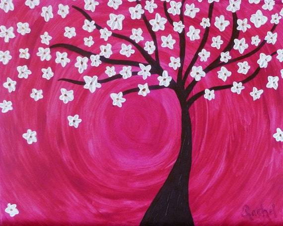 Cherry Blossom Tree Palette Knife Original Abstract Painting 16x20 Custom Commission Painting
