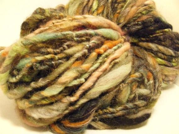 Handspun yarn art yarn bulky singles thick and thin Sazerac