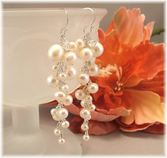 White Freshwater Pearl Wedding Earrings Long Pearl by Handwired from etsy.com