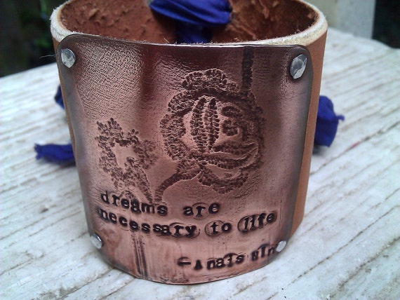 Leather and Copper Cuff Bracelet Floral Hand Stamped Anais Nin Quote