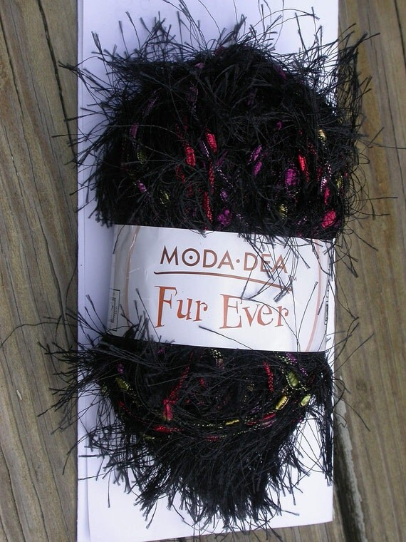 Novelty Yarn, Moda Dea Fur Ever, eyelash and ladder ribbon,  lot of 2 skeins black, bulky