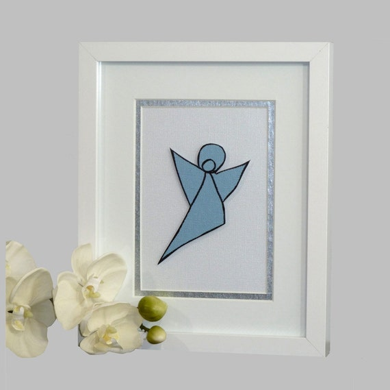 Framed Original Art, Blue and White Paper Angel, Matted