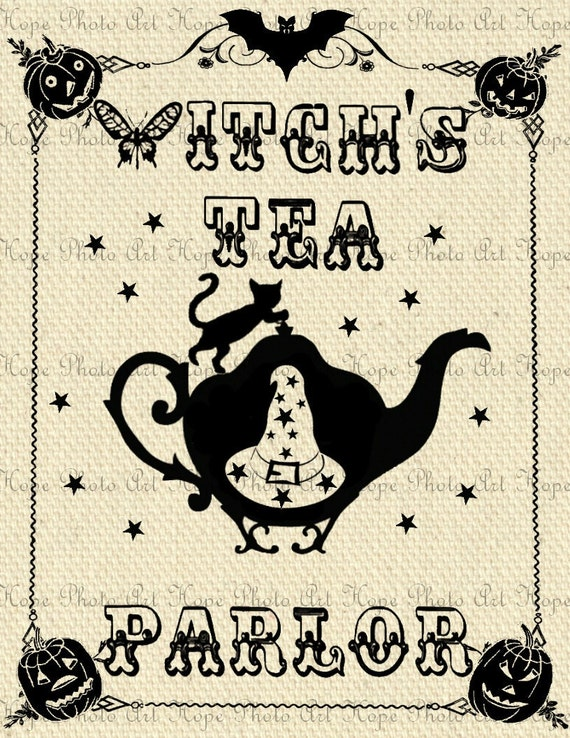 Witchs Tea Parlor Image Transfer - Burlap Feed Sacks Canvas Pillows Tea Towels greeting cards paper supplies- U Print JPG 300dpi
