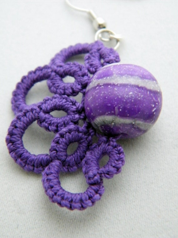 Tatted Earrings- Purple Striped Polymer Bead with Tatted Lace Edging