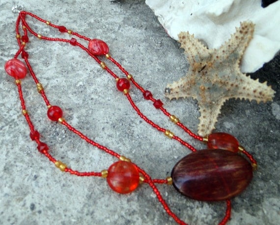 End of Year Sale  Jamaican Miss Hattie's Jam - Red and Gold Beaded Necklace