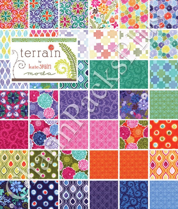 TERRAIN Moda Charm Pack - Quilt Fabric Squares - Kate Spain 27090PP