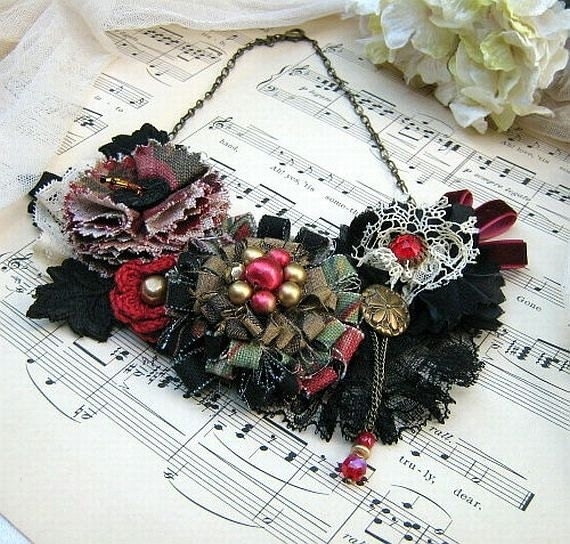 Flower Bib Statement Necklace, Ruby and Black