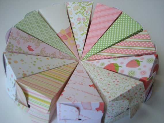 baby shower favor boxes -- pyramid gift box -- custom colors and patterns available