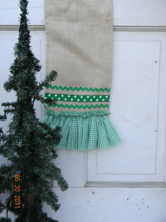 Christmas Burlap Table Runner with Green Trim and Ruffles