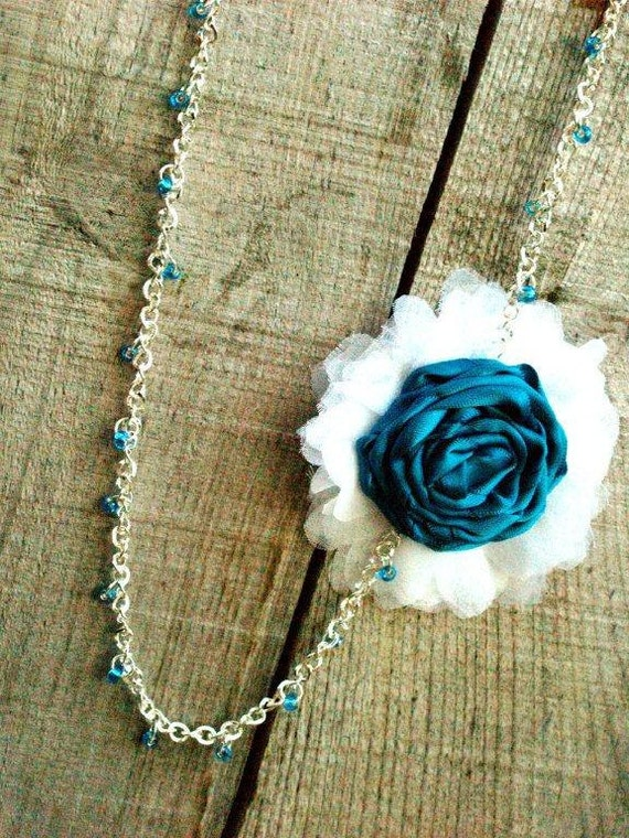 Teal and White Rosette Necklace