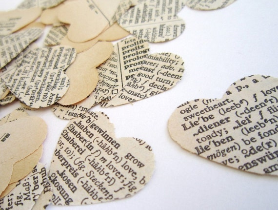 Valentine Vintage Paper Hearts wedding confetti-150 hearts- LOVE language..French English Italian German Spanish Russian Valentines Day