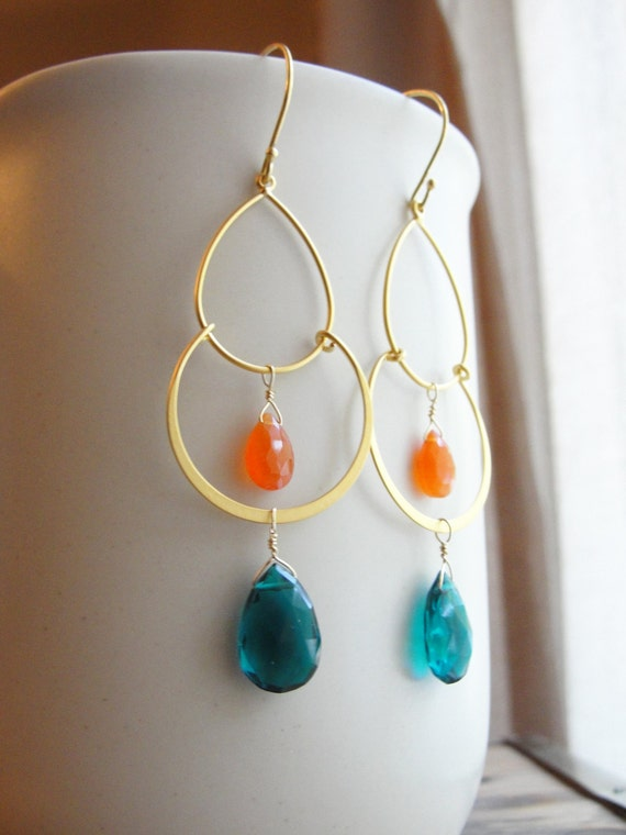 Teal quartz and orange chalcedony - gold chandelier earrings