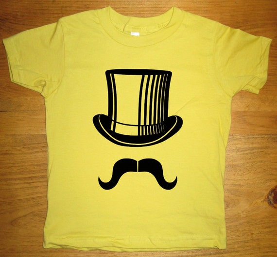 Mustache Shirt - Mr Mustache with Top Hat Mustache Shirt - Organic Cotton T Shirt - Kids Tshirt Sizes 2T, 4T, 6 - Gift Friendly