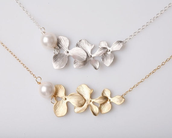 Triple Orchid flowers Sterling Silver Necklace,Pearl necklace,Birthday gift, Flower girl, Wedding Jewelry, Bridesmaid gifts