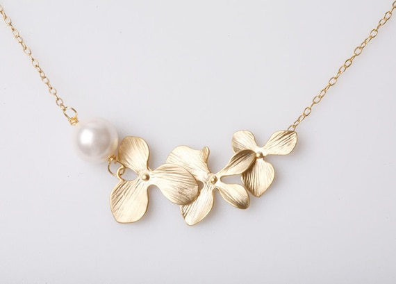 Gold Orchid flower and pearl on GOLD Filled Necklace, Birthday gift, flower girl, Bridesmaids gift, Wedding jewelry