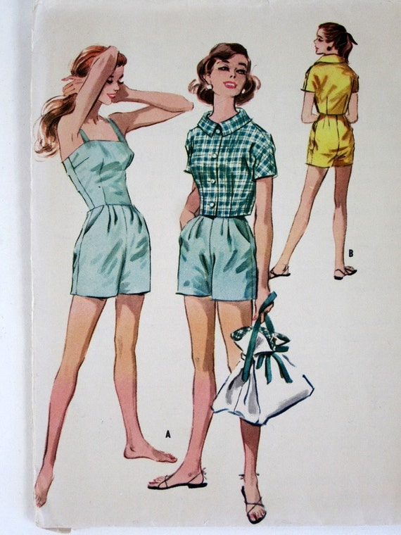 Misses Playsuit Romper and Jacket 1957 McCalls Pattern (bust 34 waist 26) Complete with Factory Folds