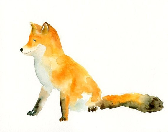 FOX by DIMDI Original watercolor painting 10X8inchxxxxAll the animals that you wantxxxx