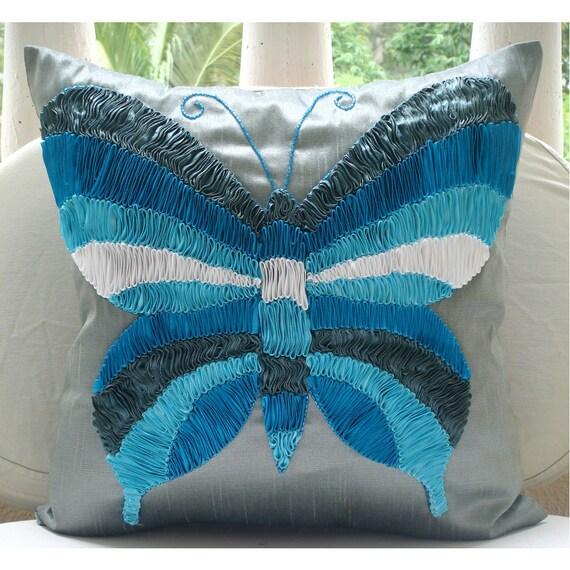 Бабочка Dreams - Бросьте наволочки - 16х16 дюймов Шелковый Чехол Вышитые с атласными лентами