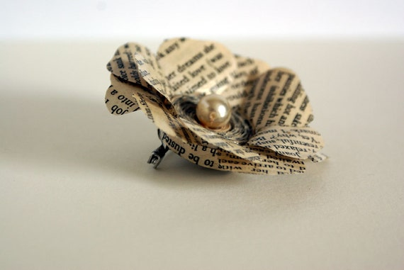 Flower brooch, rose brooch, recycled book, paper flower, pearl rosette